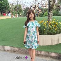 Đầm bầu hoa hở vai