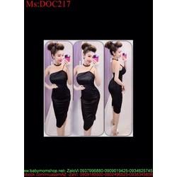Đầm body đen thiết kế cúp ngực và dây 1 bên sành điệu DOC217