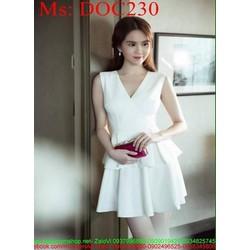 Đầm body xẻ cổ V peplum trắng trẻ trung xinh đẹp DOC230