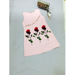 đầm suông sát nách hoạ tiết hoa hồng sh33