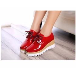 Giày oxford bánh mì da bóng đế màu màu đỏ