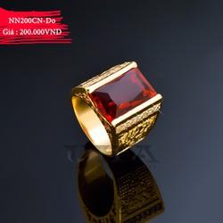 Nhẫn Nam Mạ Vàng Mặt Đá Chữ Nhật 200 - Đỏ