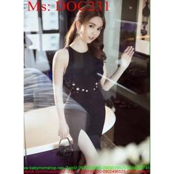 Đầm body đen sát nách xẻ đùi đính nút sành điệu thời trang DOC231 View
