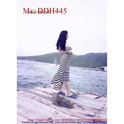 Đầm maxi đi biển cúp ngực sọc trắng đen cá tính DDH445