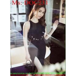 Đầm body đen sát nách xẻ đùi đính nút sành điệu thời trang DOC231