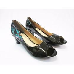Giày cao gót hỡ mũi màu đen