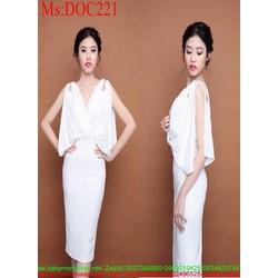Đầm body dự tiệc trắng xẻ tà tay phối dây xích sang trọng DOC221