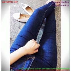 Quần jean lưng cao một nút dáng đẹp sành điệu hQD322