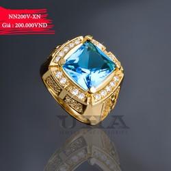 Nhẫn Nam Mạ Vàng Mặt Đá Vuông 200 - Xanh Ngọc