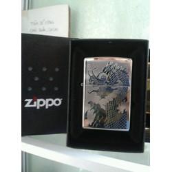 Quẹt Zippo usa 2015 khắc hình Đầu Rồng mới nguyên tem hộp