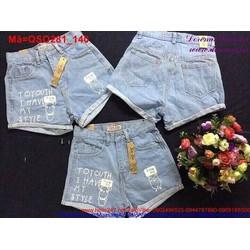 Quần short jean nữ lưng cao họa tiết hoạt hình đáng iu QSO281