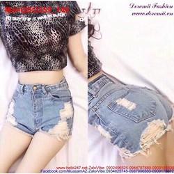 Quần short Jean nữ lưng cao rách cá tính QSO259