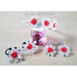 XK109 - Bộ cài tóc handmade hoa bi
