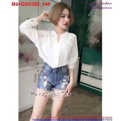 Quần short Jean nữ rách lưng cao bụi bặm QSO282