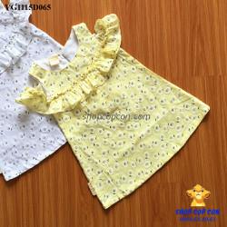 Đầm linen hoa cúc hở vai màu vàng
