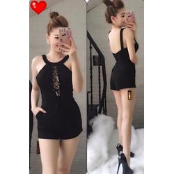 Jum short cổ yếm đan dây ngực - A27463