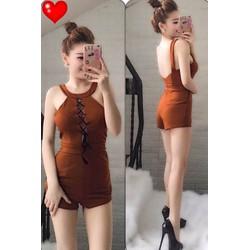 Jum short cổ yếm đan dây ngực - A27464