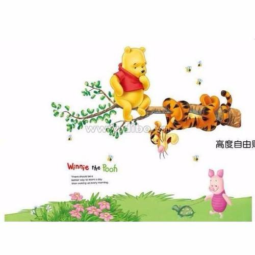 decal dan tuong gấu pood và hổ leo cây