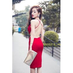 Đầm Ôm Body Kiểu Hở Lưng Phối Cổ Yếm Kín Đáo Tôn Dáng Quyến Rũ Sexy