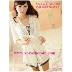 Đầm và áo choàng màu trắng sữa quyến rũ L003