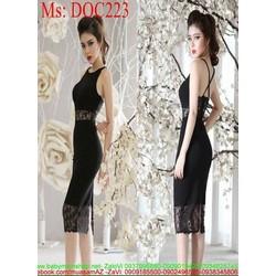 Đầm body hở lưng phối ren sang trọng quý phái DOC223