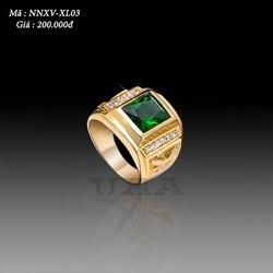 Nhẫn Nam Mạ Vàng Mặt Đá 200 - Xanh Lá