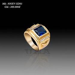Nhẫn Nam Mạ Vàng Mặt Đá 200 - Xanh Dương