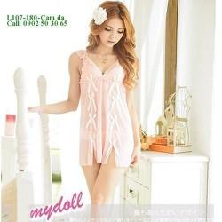 Váy ngủ xinh xắn thun lưới mịn màu hồng da gợi cảm L107