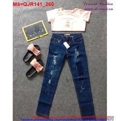 Quần Jean nữ wash rách trẻ trung cá tính QJR141