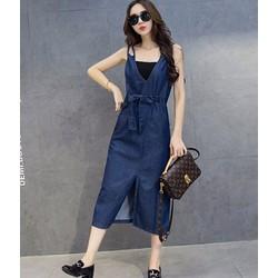 Hàng nhập - Đẩm yếm jean cột dây