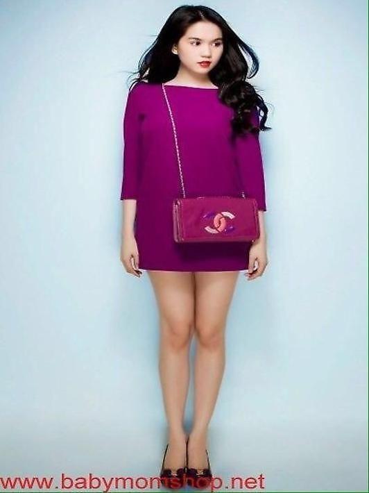 Đầm suông Ngọc trinh thiết kế dài tay màu tím xinh đẹp DSV203 1