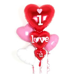 Bộ 3 bóng trái tim lớn I LOVE U