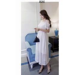 Đầm ren maxi hở vai y hình