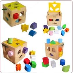 Giỏ gỗ thả hình 12 khối