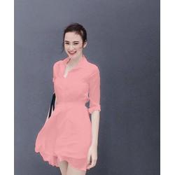 Đầm Voan Cổ Sơ Mi Xinh Như Phương Trinh - Xanh đen,hồng, đen, trắng
