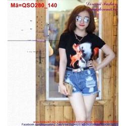 Quần short Jean nữ rách năng động QSO280