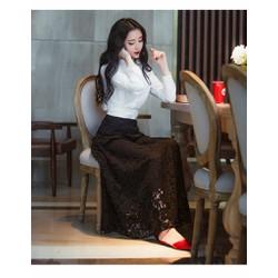 Chân váy maxi ren lót dài SD505