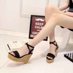 HÀNG  CAO CẤP - Giày sandal vân gỗ quai cài đan chéo cổ chân - SD428