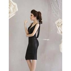 Đầm đen hở lưng đẹp thiết kế ôm body cực tôn dáng