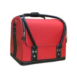 Túi da đựng đồ trang điểm xách tay Makeup Pro cỡ lớn đỏ