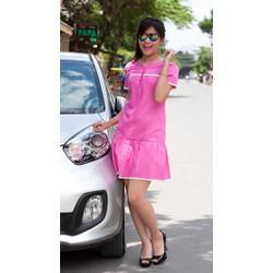 Đầm hạ eo hồng