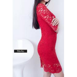 Đầm ren body đỏ tay lỡ