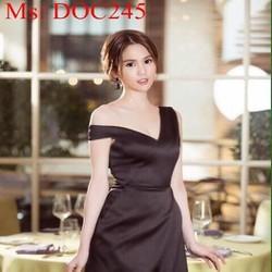 Đầm body xẻ cổ V sexy màu đen sang trọng cá tính DOC245