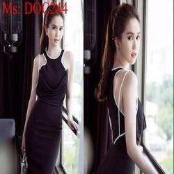 Đầm body cổ yếm phối viền trắng cổ đổ sành điệu cá tính DOC244