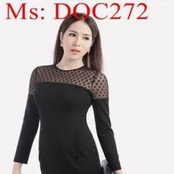 Đầm body đen dài tay phối lưới chấm bi sang trọng DOC272