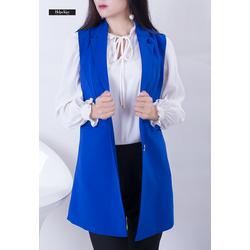 Áo gile xanh copan form dài