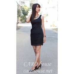 Đầm ren đen lệch vai