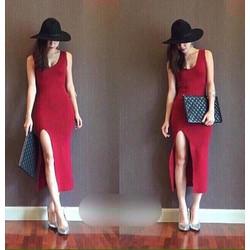 Đầm body maxi thun thái xẻ tà cao cấp