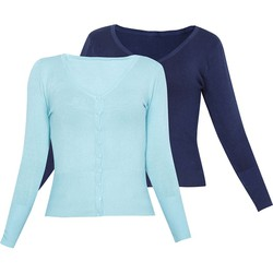 Bộ 2 áo khoác cardigan nữ len mỏng nhẹ cúc cổ tim ZENKO CS3 006 T N