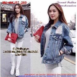Áo khoác Jean nữ rách phối túi cực sành điệu AKJ57